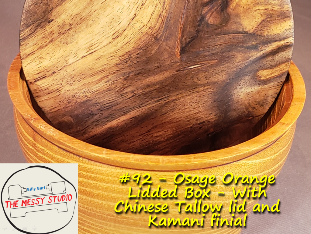Osage Orange Lidded Box – With Chinese Tallow lid and Kamani finial