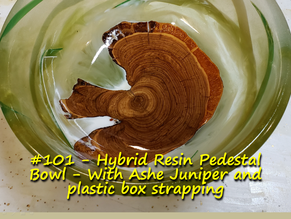 Hybrid Resin Pedestal Bowl – With Ashe Juniper and plastic box strapping