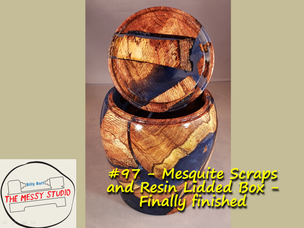 Mesquite Scraps and Resin Lidded Box – Finally finished