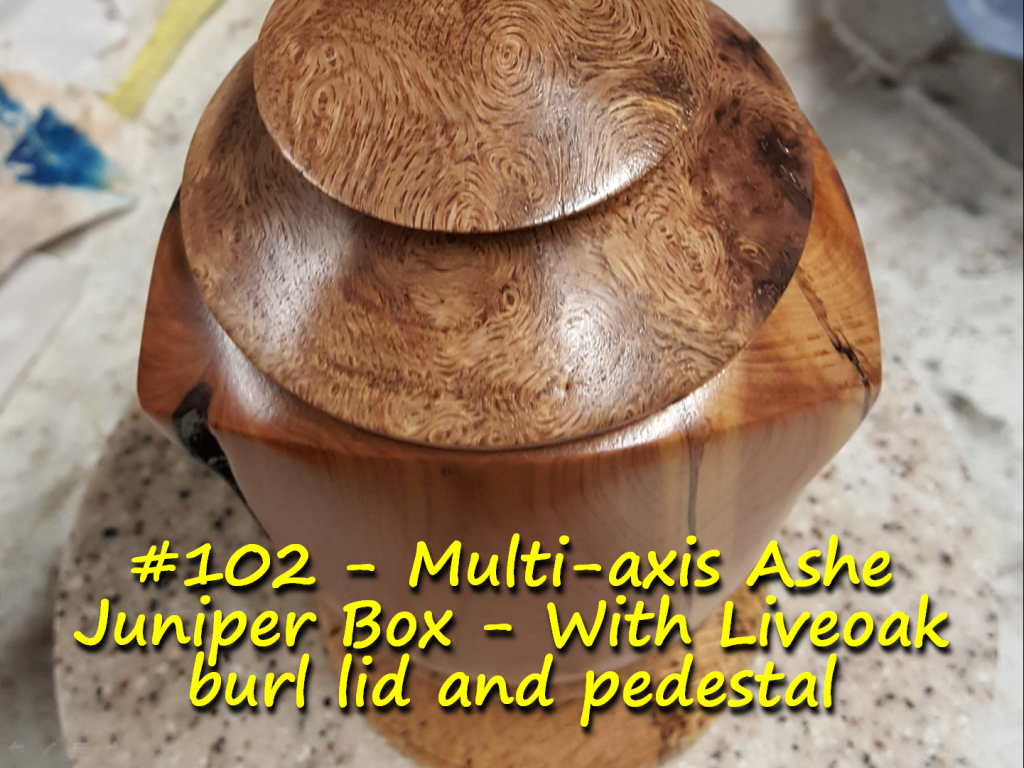 Multi-axis Ashe Juniper Box – With Liveoak burl lid and pedestal