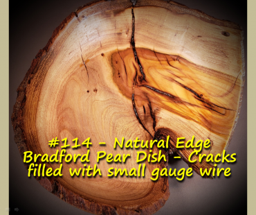 Natural Edge Bradford Pear Dish – Cracks filled with small gauge wire